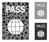 Passport Composition Of Uneven Parts In Various Sizes And Color Tinges, Based On Passport Icon. Vect poster