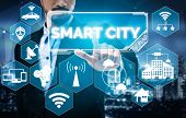 Smart City Wireless Communication Network With Graphic Showing Concept Of Internet Of Things (iot) A poster