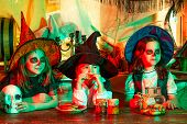 Happy Kids On Halloween Party. Group Kids Like Zombie Or Witch Ready For Trick Or Treat. Calaverita. poster