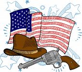 image of vaquero  - Doodle style American cowboy or Wild West objects in front of an American flag background - JPG