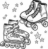 Roller skate and rollerblade sketch