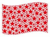 Waving Red Flag Collage. Vector Confetti Star Design Elements Are Combined Into Geometric Red Waving poster