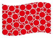 Waving Red Flag Collage. Vector Circle Icons Are Scattered Into Geometric Red Waving Flag Collage. P poster
