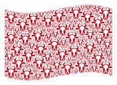 Waving Red Flag Collage. Vector Cow Head Icons Are Scattered Into Conceptual Red Waving Flag Collage poster