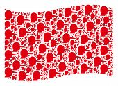 Waving Red Flag Collage. Vector Lier Design Elements Are Arranged Into Mosaic Red Waving Flag Collag poster