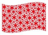 Waving Red Flag Collage. Vector Snowflake Icons Are Placed Into Conceptual Red Waving Flag Collage.  poster