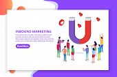 Lead Generate, Inbound Marketing Magnet Isometric Concept. Vector Illustration poster