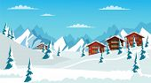 Alpine Landscape Flat Vector Illustration. Beautiful Winter Scenery, Snowy Mountains, Valley With Fi poster