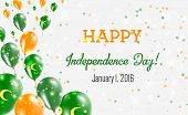 Cocos (keeling) Islands Independence Day Greeting Card. Flying Balloons In Cocos (keeling) Islands N poster