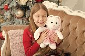 The Cutest Little Toy Ever. Small Girl Hug Rabbit Toy. Best Christmas Toy. Little Girl With Cute Bun poster