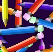 Colored Pencils Scattered Close Up