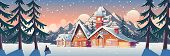 Winter Mountain Landscape With Houses Decorated With Christmas Garland And Tower With Clock. Ski Res poster