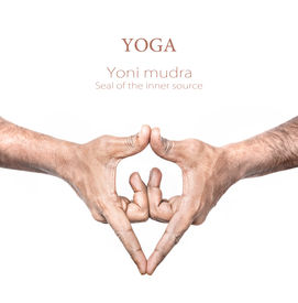 picture of samadhi  - Hand in Yoni mudra by Indian man isolated at white background - JPG