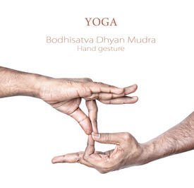 picture of samadhi  - Hand in Bodhisattva dhyan mudra by Indian man isolated at white background - JPG