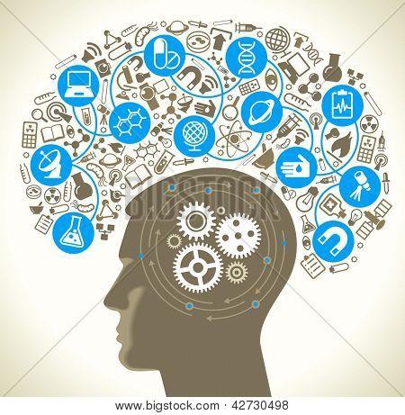 Постер, плакат: Головы человека и иконки науки Концепция научных открытий Идея обучения Современные, холст на подрамнике