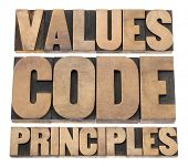 values, code, principles words - a collage of isolated text in vintage letterpress wood type printin
