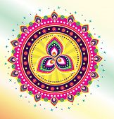 image of deepavali  - Colorful lotus and flower graphic pattern illustration design - JPG