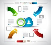 Infographic design  for Cloud computing - original paper geometric shape with shadows. Ideal for sta