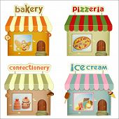 stock photo of ice-cake  - Set of Cartoon Shops - JPG