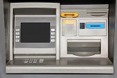 foto of automatic teller machine  - Outdoor metallic automatic teller machine for banking - JPG
