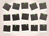 Photo Frames Pressed Green Pushpin. 3D Background
