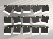 Photo Frames Pressed Green Pin To Shelf. 3D Background