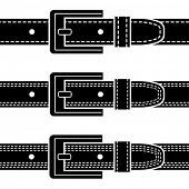 vector buckle quilted belt black symbols