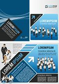 Blue and black template for advertising brochure with business people