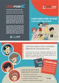 Red and blue template for advertising brochure with cute happy cartoon family