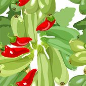 seamless pattern ripe zucchini hot peppers