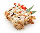Bonito Maki Sushi - Rolls with Fresh Salmon, Cucumber, Cream Cheese and Ikura (salmon roe) inside. D