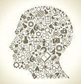 Human head and science icons. The concept of learning, research and discovery. Modern technological