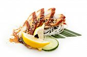 Unagi Sashimi - Smoked Eel on Daikon (White Radish) with Eel Sauce and Sesame. Served with Seaweed,