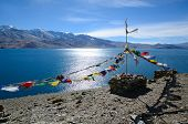 Tibetan Prayer Flags At Lake