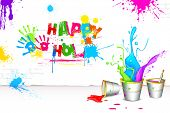 illustration of bucket full of color in Holi background