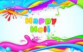 illustration of colorful splash in Holi wallpaper