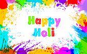 illustration of colorful grunge frame for Holi background