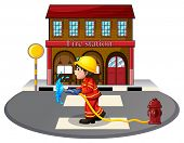 Illustration of a fireman holding a hose on a white background