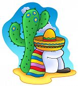 Photo of sleeping mexican with sombrero and scarf- color illustration.