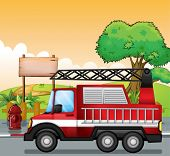 Illustration of a red utility truck and the signboard at the street