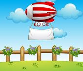 Illustration of a stripe blimp carrying an empty banner