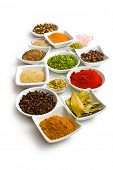 foto of cumin  - Various spices and herbs on white background - JPG