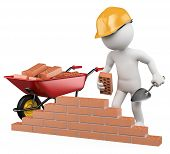 image of bricklayer  - 3d white worker building a brick wall - JPG