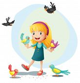 Illustration of a girl playing with the birds on a white background
