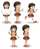 Illustration of the five different positions of a girl on a white background