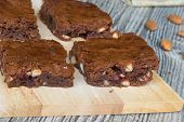Tasty Brownies With Almonds And Dry Cranberries