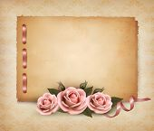 foto of rosa  - Retro background with beautiful pink rose and old paper - JPG