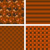set of seamless backgrounds with hedgehogs and mushrooms