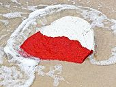 Flag Of Poland On A Stone On The Beach