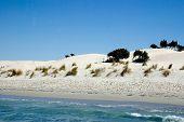 Cavaleiros nas dunas perto do mar